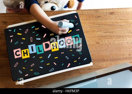Childhood Children Confetti Cubes Graphic Concept - Stock Photo