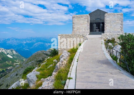 The mausoleum of Njegos located on the top of the Lovcen Mountain, Montenegro. - Stock Photo