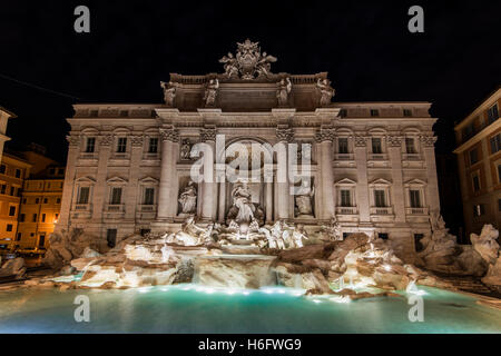 Night view of Trevi Fountain, Rome, Lazio, Italy - Stock Photo