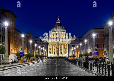 Night view of Via della Conciliazione with Saint Peter's Basilica in the background, Rome, Lazio, Italy - Stock Photo