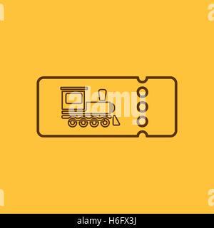Flat Vector Illustration The Blank Train Ticket Icon Travel Symbol