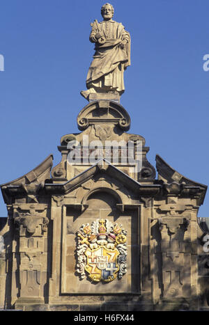 Germany, Trier, figure at the portal of the former Electoral castle. - Stock Photo