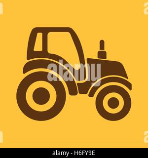 The tractor icon. Agrimotor symbol. Flat Vector illustration - Stock Photo