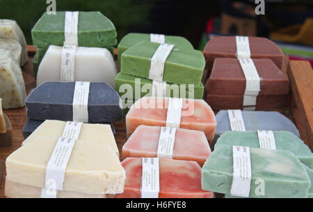 Handmade soaps with ingredients - Stock Photo