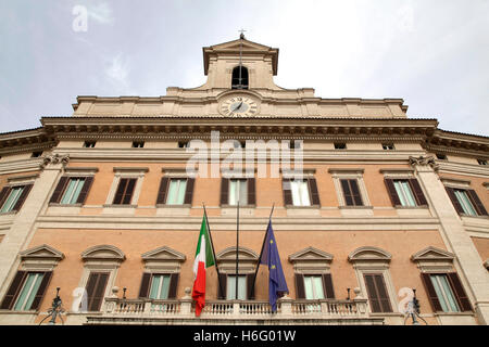 Palazzo Montecitorio a palace in Rome and the seat of the Italian Chamber of Deputies - Stock Photo