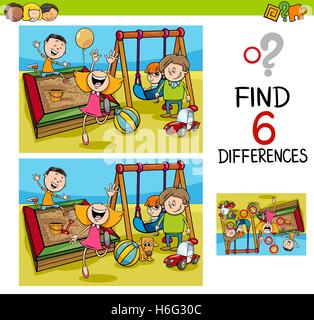 Cartoon Illustration of Finding the Difference Educational Activity for Children with Kids on Playground - Stock Photo