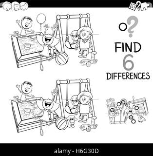 Black and White Cartoon Illustration of Finding the Difference Educational Activity for Children with Kids on Playground - Stock Photo