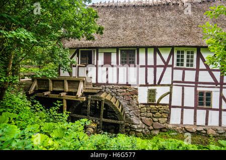 Denmark, Funen, Odense, Funen village open air museum, Watermill from the Davinde area - Stock Photo