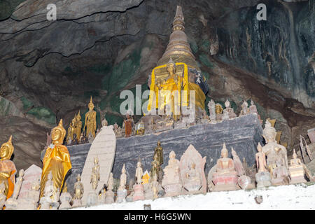 miniature Buddha sculptures, Tham Ting, lower cave,Pak Ou caves, Laos Stock Photo