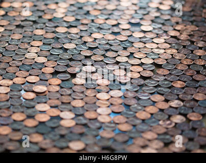 Large group of pennies with short depth of field for a background - Stock Photo