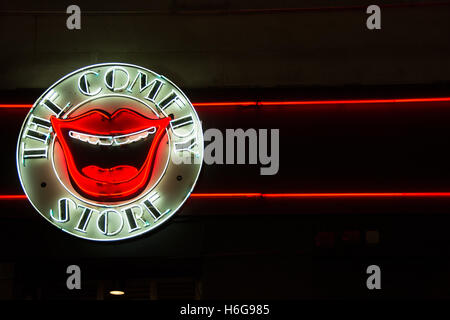 A neon sign outside the Comedy Store in London's West End, UK - Stock Photo