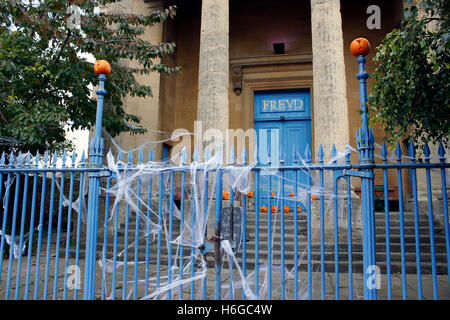 freud oxford halloween pumpkins and cobweb decorations for all saints eve stock photo