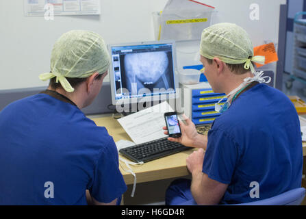 Two doctors discussing a patient X Ray on the screen showing a broken leg.They discuss images and notes on the mobile phone. Stock Photo