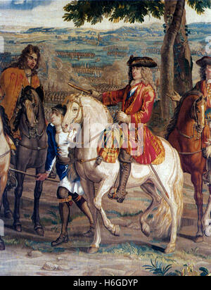 JOHN CHURCHILL, Ist Duke of Marlborough (1650-1722) English soldier and statesman at the Battle of Blenheim 13 August - Stock Photo