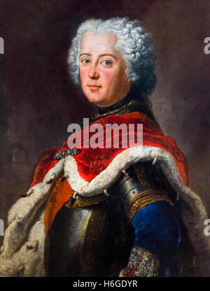 Frederick the Great (Friedrich der Große:1712-1786) as Crown Prince. Portrait by Antoine Pesne, oil on canvas, c.1739. - Stock Photo