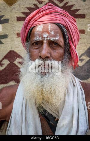 A Sadhu or holy man, Pushkar, Rajasthan, India - Stock Photo