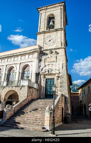 Norcia bell tower Palazzo Comunale Umbria Perugia Italy - Stock Photo