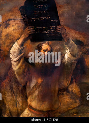 Moses Breaking the Tablets of the Law by Rembrandt van Rijn, oil on canvas, 1659. The painting depicst Moses smashing - Stock Photo