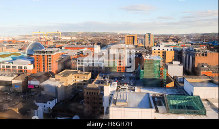 View from Belfast City Hall, looking towards East Belfast. - Stock Photo