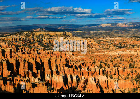 This is a late-afternoon view of the Bryce Amphitheater as seen from Inspiration Point in Bryce Canyon National - Stock Photo