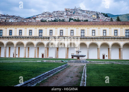 Great Cloister of the Certosa di San Lorenzo Charterhouse in Padula, Campania, Italy. - Stock Photo