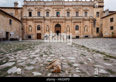 Front entrance of the Certosa di San Lorenzo charterhouse in Padula, Capania, Italy. - Stock Photo