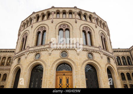The Parliament Building, Storting Building, Karl Johans Gate, Oslo, Norway - Stock Photo