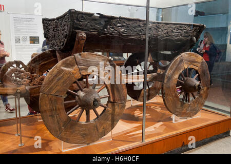 The Oseberg Carriage, from the Oseberg Viking ship, Viking Ship Museum, Bygdoy, Oslo, Norway - Stock Photo
