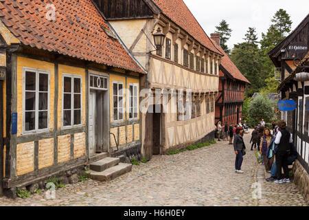A street in Den Gamle By, Aarhus, Denmark - Stock Photo