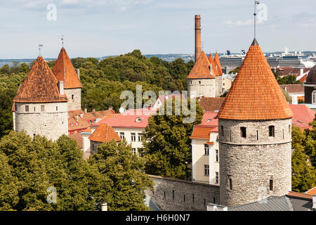 View of towers in the Old Town from Patkuli viewing platform, Toompea Hill, Tallinn, Estonia - Stock Photo