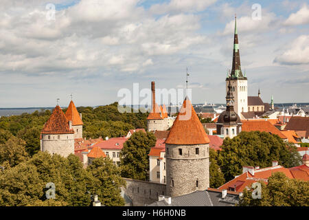 Saint Olaf's Church and towers in the Old Town from Patkuli viewing platform, Toompea Hill, Tallinn, Estonia - Stock Photo