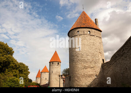 Four towers in the Old Town, Tallinn, Estonia - Stock Photo