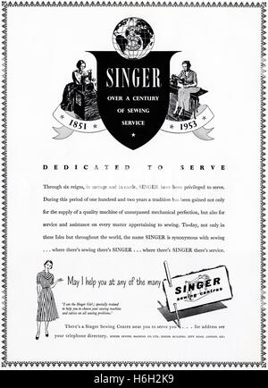 1950s advertising advert from original old vintage 50s English magazine dated 1953 advertisement for Singer sewing - Stock Photo
