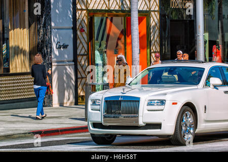 Luxury car parked on Rodeo Drive, Beverly Hills, Los Angeles - Stock Photo