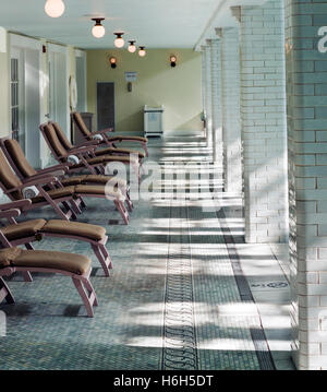 Chaise Lounges; interior spring-fed swimming pool; Omni Bedford Springs Resort & Spa; Bedford; Pennsylvania; USA - Stock Photo