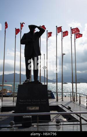A statue of Mustafa Kemal Ataturk at a Turkish war ...