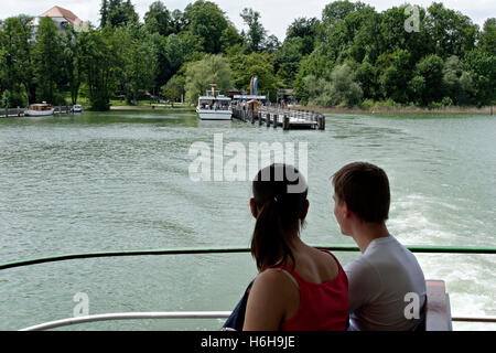 View to the Herrenchiemsee  ( Herreninsel ) from a ferry boat, Chiemsee Chiemgau, Upper Bavaria Germany Europe - Stock Photo