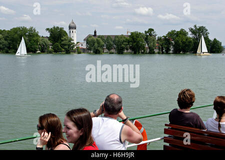 View to the Fraueninsel ( Island ) from a ferry boat, Chiemsee Chiemgau, Upper Bavaria Germany Europe - Stock Photo