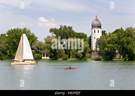 View to the Fraueninsel ( Island ) and Monastery Church, Chiemsee Chiemgau, Upper Bavaria Germany Europe - Stock Photo