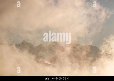 Misty sunrise in Irati, Navarre, Spain - Stock Photo