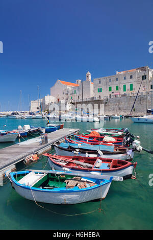 Harbor with historic centre and cathedral, Giovinazzo, Province of Bari, Apulia, Italy - Stock Photo