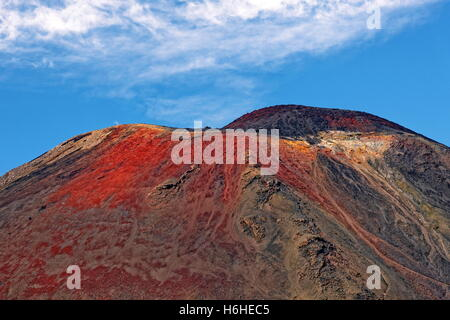 Summit of volcanic Mount Ngauruhoe, Tongariro Alpine Crossing trail, Manawatu-Wanganui, North Island, New Zealand - Stock Photo
