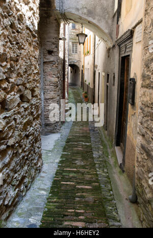 Medieval alley in the historic centre, Triora mountain village, Liguria, Italy, Europe - Stock Photo
