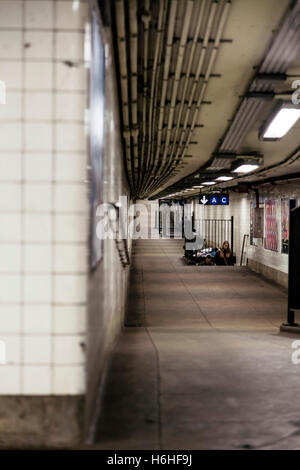 NEW-YORK - NOV 17: Nearly empty passage in a subway station in New-York, USA on November 17, 2012. - Stock Photo