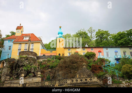 The spectacular and colourful village of Portmeirion - top tourist attraction in North Wales UK - Stock Photo