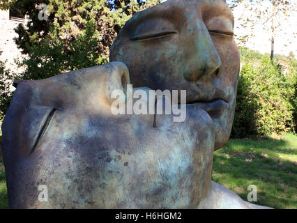 Modern sculptures  by Igor Mitoraj on show at the ancient site of Pompeii near Naples Italy - Stock Photo
