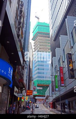 building in construction Hong Kong island China - Stock Photo
