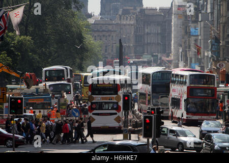 Traffic congestion in Edinburgh showing Princes Street - Stock Photo