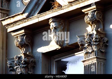 Art Nouveau detail on house in Smith Street, Collingwood, Melbourne, Victoria, Australia - Stock Photo