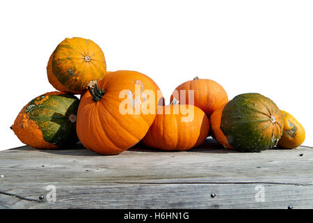 Assorted pumpkins and squashes on rustic wooden boards - Stock Photo